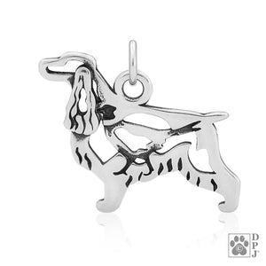Sterling Silver English Cocker Spaniel Dog Pendant Charm with Pheasant in Body