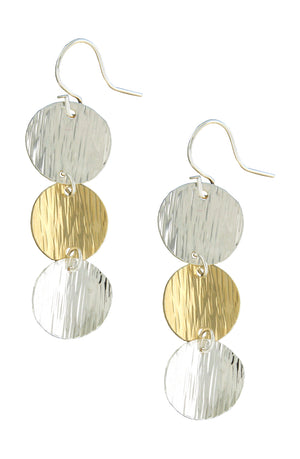 Sterling Silver and 12 Karat Gold Filled Textured Triple Coin Earrings