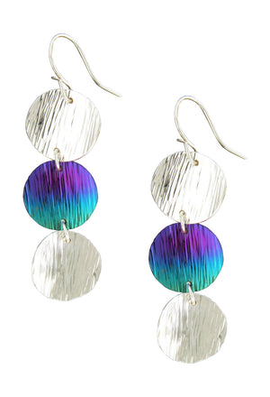 Sterling Silver and Niobium Textured Triple Coin Earrings