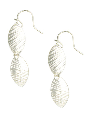 Sterling Silver Textured Flat Double Marquise Dangle Earrings