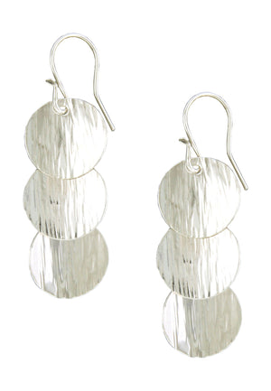 Sterling Silver Textured Triple Overlapping Coin Earrings