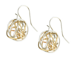 Sterling Silver and 12 Karat Gold Filled Tangled Ball Earrings