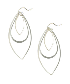 Sterling Silver Flat Wire Double Marquise and Teardrop Dangle Earrings