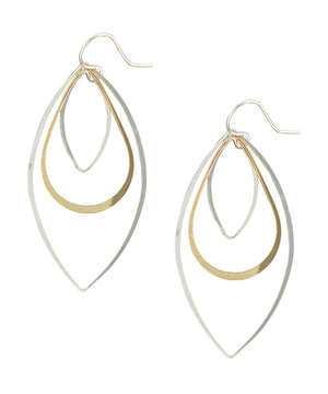 Sterling Silver and 12 Karat Gold Filled Wire Double Marquise and Teardrop Earrings