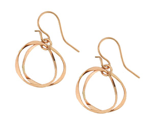 14 Karat Rose Gold Filled Double Wavy Circles Earrings