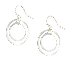 Sterling Silver Small and Large Flattened Wire Circles Earrings