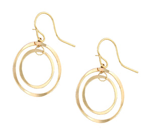 12 Karat Gold Filled Small and Large Flattened Wire Circles Earrings
