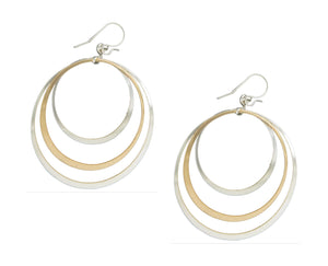 Sterling Silver and 12 Karat Gold Filled Triple Graduated Circles Earrings