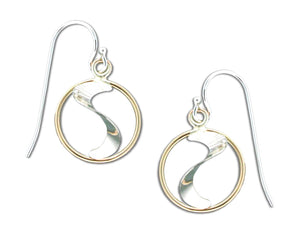 Sterling Silver and 12 Karat Gold Filled Circle and Slide Dangle Earrings.