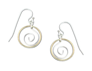 Sterling Silver and 12 Karat Gold Filled Circle with Center Spiral Dangle Earrings
