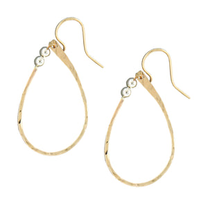 12 Karat Gold Filled Teardrop Earrings with Sterling Accent Beads