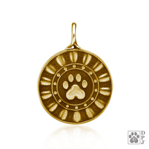 Bronze Reflection Paws Dog Paw Print Pendant Circled By Ethereal Rays