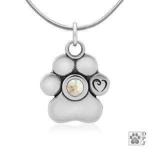 Sterling Silver Flat High Polish Paw Print Pendant with Aurora Borealis Crystal