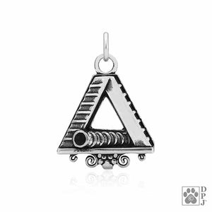 Sterling Silver Large A-frame Dog Agility Tunnel with Scrolled Bottom Pendant