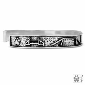 Sterling Silver Heavy Weight Oval Dog Agility Cuff Bracelet
