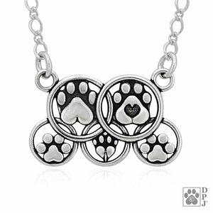 Sterling Silver 18 inch Dog Family Circles Paw Print Necklace
