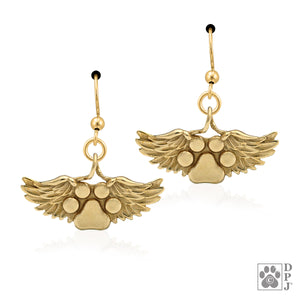 Bronze Heaven's Paws Dog Paw Print with Angel Wings Memorial Earrings