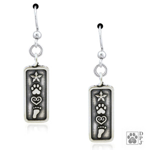 Sterling Silver Love and Destiny Dog Paw Print Earrings Foot Print, Heart & Star