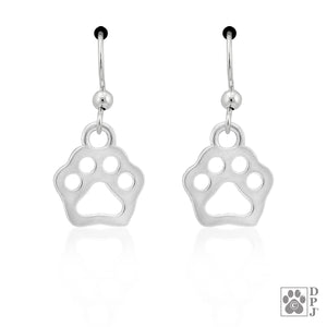 Sterling Silver Tiny Flat Dog Paw Print Cutout Earrings with French Wires