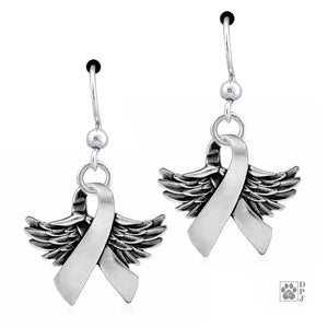Sterling Silver Wings Of Hope Dog Awareness Ribbon Earrings with Wings
