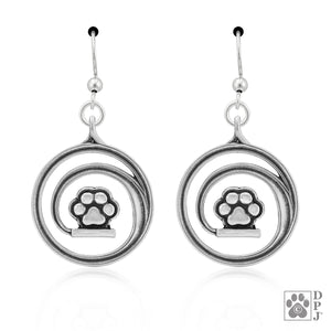 Sterling Silver Chasing My Tail Journey Dog Paw Print Earrings and Circling Tail