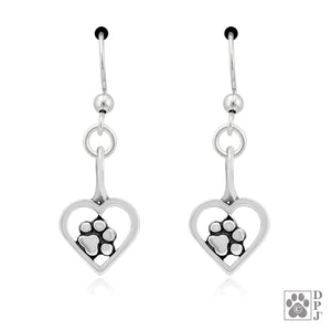 Sterling Silver Tucked in My Heart Dog Paw Print Earrings with Open Heart