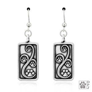 Sterling Silver Journey Paws Dog Paw Print Earrings with French Wires