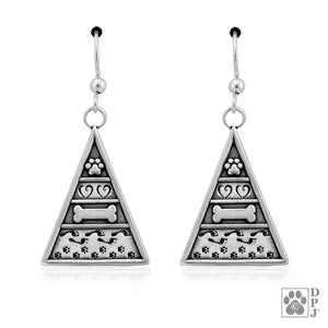 Sterling Silver Dog Pyramid Of Life Earrings What's Important To Dogs