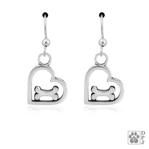 Sterling Silver You Feed My Soul Open Heart with Dog Bone Pendant Earrings