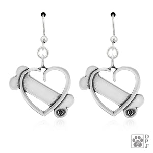 Sterling Silver K-9 Cupid Heart and Dog Bone Pendant Earrings