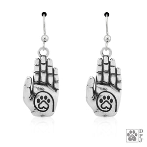 Sterling Silver a True Friend Reaches for Your Hand Heart Dog Paw Print Earrings