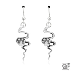 Sterling Silver Winding Road Earrings with Dog Paw Print and Squiggle Design