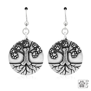 Sterling Silver Dog Tree Of Life Pendant Earrings with Paw Prints and Dog Bone