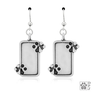 Sterling Silver Just the 2 Of Us Dog Paw Print Pendant Earrings Engravable