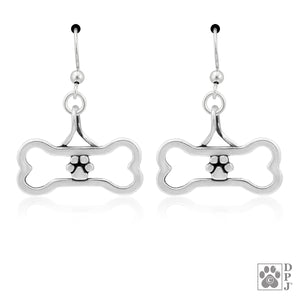 Sterling Silver Paws Off My Bone Dog Bone Pendant Earrings with Paw Print