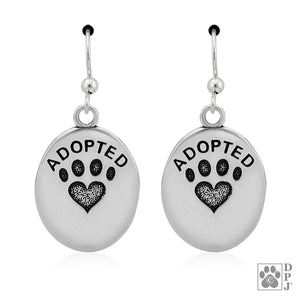 Sterling Silver Oval Adopted Pendant Earrings with Paw Print Heart