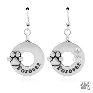 Sterling Silver Forever Dog Paw Print Earrings with French Wires