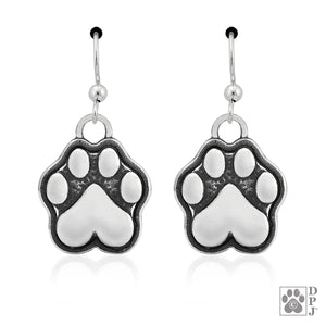 Sterling Silver Dog Paw Print with Heart Shaped Pad Earrings