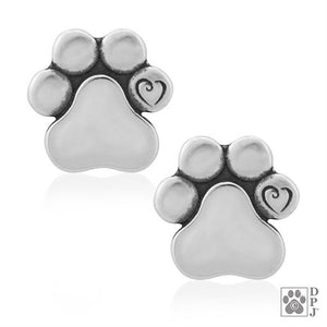 Sterling Silver Flat Dog Paw Print with Scrolled Heart in Pad Post Earrings