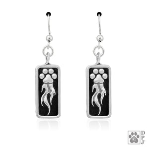 Sterling Silver Speed Paws Paw Print Dog Agility Earrings with Flames