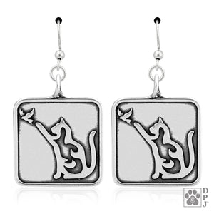 Sterling Silver Cat with Bird Earrings with French Wires