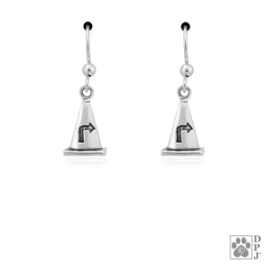 Sterling Silver Rally Cone Dog Agility Earrings with Paw Print and Arrow