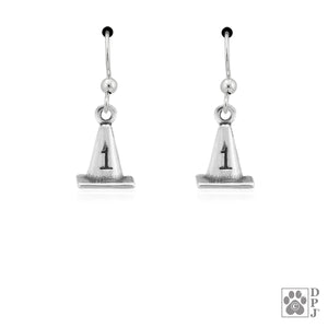 Sterling Silver #1 Rally Cone Dog Agility Earrings with Paw Print on Back