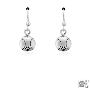 Sterling Silver Tennis Ball with Dog Paw Print Agility Earrings