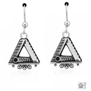 Sterling Silver Large A-frame Dog Agility Tunnel with Scrolled Bottom Earrings