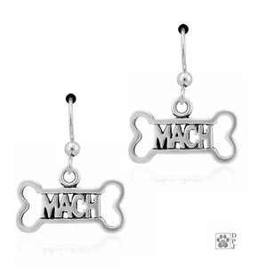 Sterling Silver Agility Mach Bone Dog Champion Earrings with French Wires