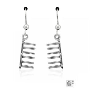 Sterling Silver Set Agility Weave Poles Dog Earrings with French Wires