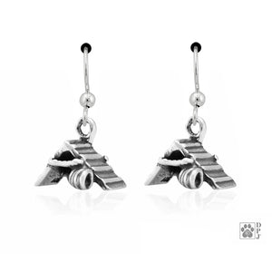 Sterling Silver Agility A-frame and Tunnel Dog Earrings with French Wires