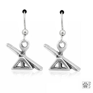 Sterling Silver Agility See-saw Teeter Dog Earrings on French Wires