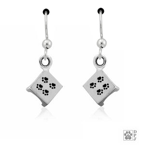 Sterling Silver Agility Pause Table Dog Earrings with Paw Prints